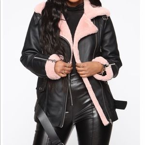 Black And Pink Aviator Winter Faux Fur Jacket
